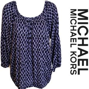 Purple Blue Top Michael KORS Diamond Pattern 3/4